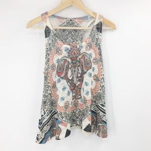 Gaze Boho Elephant Knit Racerback Swing Tank Top